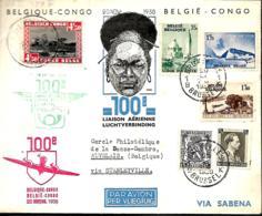 Belgique. 100ème Liaison Aérienne Régulière Bruxelles > Congo AR Via Syanleyville 20/11/38     Van Den Bauw 380 ,F - Aéreo