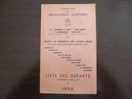 Compagnie Des Messageries Maritimes.Liste Des Départs 1959. - Boten