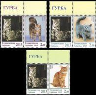 Tajikistan 2013 MiNr. 614 - 616 Tadschikistan Cats Pets ANIMALS 3 St. + Lab. MNH** 7.20 € - Tadjikistan