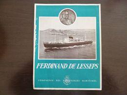 Compagnie Des Messageries Maritimes. Ferdinand De Lesseps. Dépliant. Vues De L'intérieur Du Bateau. - Boten