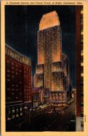 Ohio Cincinnati Fountain Square And Carew Tower At Night Curteich - Cincinnati
