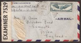 USA To UK 1941 Censored Cover 'NEW YORK Jul 2 630 PM 1941'  Stamp: 1e Vol Transatlantique New-York-Marseille' Censure - WW2