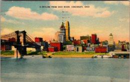 Ohio Cincinnati Skyline From Ohio River 1945 Kraemer Art - Cincinnati
