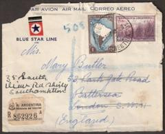 Argentina 1949 Letter To London. Private Cover Of The 'Blue Star Line' Registered With Sucursal 10 (Pellegrini) Of The M - Argentinien