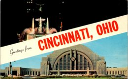 Ohio Cincinnati Greetings Showing Union Station 1967 - Cincinnati