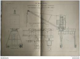 1899 APPONTEMENT DE PAUILLAC ( GIRONDE ) GRUE HYDRAULIQUE À DOUBLE PUISSANCE DE 1500 À 3000 KG - Obras Públicas