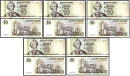 Transnistria - 5 Pcs X 10 Rubles 2007 P. 44a AUNC Lemberg-Zp - Moldavie