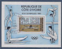 Bloc Oblitéré Côte D'Ivoire Jeux Olympiques 1980 Timbre Poste Aérienne, Gymnastique, Abidjan 24.7.1980 - Ivoorkust (1960-...)