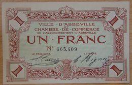 Abbeville ( 80  ) 1 Franc Chambre De Commerce  ND Filigrane Feuilles - Chamber Of Commerce