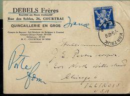 Doc. De  KORTRIJK - B 2 B - Du 02/09/47  Avec N° V  De La Victoire N° 683A Pour Les USA - Belgium