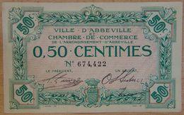Abbeville ( 80  ) 50 Centimes Chambre De Commerce  ND Filigrane Feuilles - Chamber Of Commerce