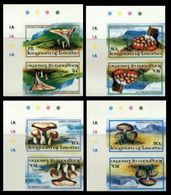 LESOTHO 1983 Fungi Mushrooms Eukaryotic Tete-beche CORNER IMPERF.PAIRS:4 - Mushrooms