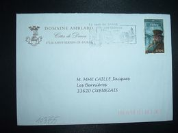 LETTRE TP VIDOCQ 0,50E OBL.MEC. 47 DURAS + DOMAINE AMBLARD COTES DE DURAS - Marcofilia (sobres)