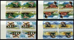 LESOTHO 1983 Fungi Mushrooms Eukaryotic Tete-beche MARG.IMPERF.4-BLOCKS:4 - Lesotho (1966-...)