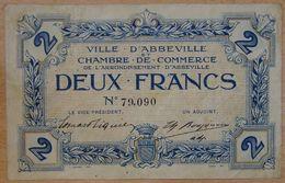 Abbeville ( 80  ) 2 Francs Chambre De Commerce  ND Filigrane Feuille Et Timbre Sec - Chamber Of Commerce