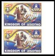 LESOTHO 1984 Olympic Games Los Angeles Horse 30s MARG.IMPERF.PAIR - Chevaux