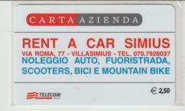 37-Carta Azienda-Rent A Car Simius-Villasimius-Nuova In Bustina - Télécartes