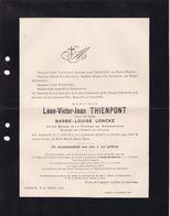 OUDENAARDE THIENPONT Léon  Veuf LONCKE 1815-1909 Ancien Député - Obituary Notices