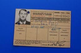 1965/66 CARTE D'ÉTUDIANT UNIVERSITÉ DE LYON-FACULTÉ DES SCIENCES  CHIMIE MINÉRALE -ORGANIQUE-ŒUVRES UNIVERSITAIRES - Documents Historiques