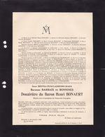 MOZET FOY-NOTRE-DAME Bertha Baronne BARBAIX De BONNINES Veuve Henri De BONAERT 1860-1929 - Obituary Notices