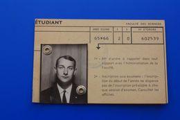 1965/66 CARTE D'ÉTUDIANT UNIVERSITÉ DE LYON-FACULTE DES SCIENCES  CHIMIE MINÉRALE -ORGANIQUE-ŒUVRES UNIVERSITAIRES - Documents Historiques
