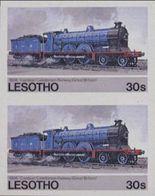 LESOTHO 1984 Steam Locomotive Train Railway 30s IMPERF.PAIR - Lesotho (1966-...)