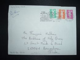 LETTRE Pour INDE BANGALORE P MARIANNE DE BRIAT 4,00 + 1,00 + 0,20 OBL.MEC.6-4 1993 74 LA ROCHE SUR FORON - 1989-96 Bicentenial Marianne