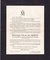 Château De GOSSONCOURT TIRLEMONT Marie-Brigitte STORMS épouse Félix De NEEF  1873-1947 - Obituary Notices