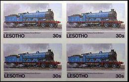 LESOTHO 1984 Steam Locomotive Train Railway Vapour 30s IMPERF.4-BLOCK - Lesotho (1966-...)