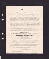 MONS Fabrique D'Eglise Sainte-Waudru Julie Baronne De BONNAERT 1867-1952 - Obituary Notices
