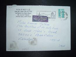 LETTRE Pour INDE BANGALORE P MARIANNE DE BRIAT 5,00 OBL.MEC.1-3 1993 74 SALLANCHES - 1989-96 Bicentenial Marianne