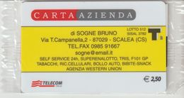 41-Carta AziendaDi Sogne Bruno-Scalea-Cosenza-Nuova In Confezione Originale - Télécartes