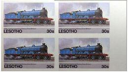 LESOTHO 1984 Steam Locomotive Train Railway Vapour 30s MARG.IMPERF.4-BLOCK - Lesotho (1966-...)
