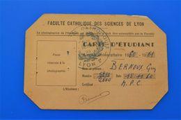 1960/61 CARTE D'ÉTUDIANT UNIVERSITÉ DE LYON-FACULTÉ CATHOLIQUE SCIENCES CHIMIE MINÉRALE-ORGANIQUE-ŒUVRES UNIVERSITAIRES - Documents Historiques