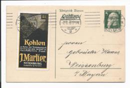 Bayern P 89 - 03  - 5 Pf. Luitpold Doppelkarte  DD 13 Mit Vignette Von Nürnberg Nach Weissenburg Bedarfsverwendet - Bavaria