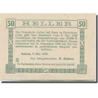 Billet, Autriche, Asten, 50 Heller, Eglise, 1920, 1920-12-31, SPL, Mehl:FS 59a - Austria
