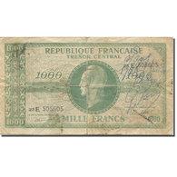 France, 1000 Francs, Marianne, 1943-1945, AB+, Fayette:VF13.2, KM:107 - Treasury