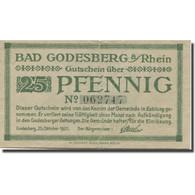 Billet, Allemagne, Godesberg, 25 Pfennig, Château, 1920 TTB Mehl:G 22.1b - Germania