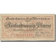 Billet, Allemagne, Wiesbaden, 25 Pfennig, Blason, 1919, TTB, Mehl:W41.8a - Duitsland