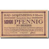 Billet, Allemagne, Godesberg, 10 Pfennig, Paysage 1920-10-25, SUP, Mehl:G 22.1a - Duitsland