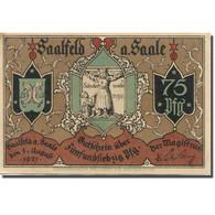 Billet, Allemagne, Saalfeld, 75 Pfennig, Rue, 1921 SUP Mehl:1155.5b - Duitsland