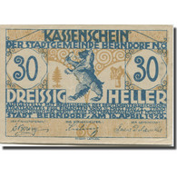 Billet, Autriche, Berndorf, 30 Heller, Lion, 1920, 1920-04-16, TTB, Mehl:FS 83a - Austria