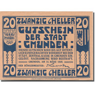 Billet, Autriche, Gmunden, 20 Heller, Blason, 1920 SPL, Mehl:FS 240IIa - Austria