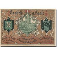 Billet, Allemagne, Saalfeld, 75 Pfennig, Ruine, 1921 SPL Mehl:1155.1b - Duitsland