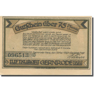 Billet, Allemagne, Gernrode-Harz, 75 Pfennig, Mairie, 1921 SPL Mehl:FS 423.2a - Duitsland