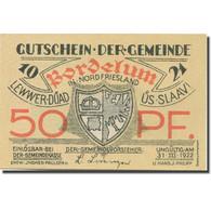 Billet, Allemagne, Bordelum, 50 Pfennig, Blason 6, 1922 SPL Mehl:143.1 - Duitsland