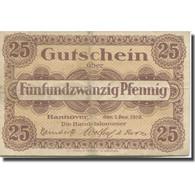 Billet, Allemagne, Hannover, 25 Pfennig, Valeur Faciale, 1919 TB Mehl:H 13.2a - Duitsland