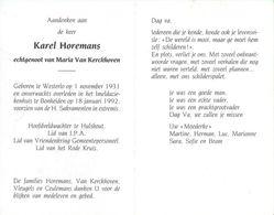 Karel Horemans :  Westerlo 1931-1992 :  Hoofdveldwachter Te Hulshout  ( Politie-gendarm ) - Santini