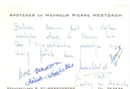 Visitekaartje - Carte De Visite - Apotheker & Mevrouw Pierre Mestdagh - St Amandsberg - Cartes De Visite