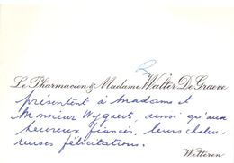 Visitekaartje - Carte De Visite - Le Pharmacien & Madame Walter De Graeve - Wetteren - Cartes De Visite